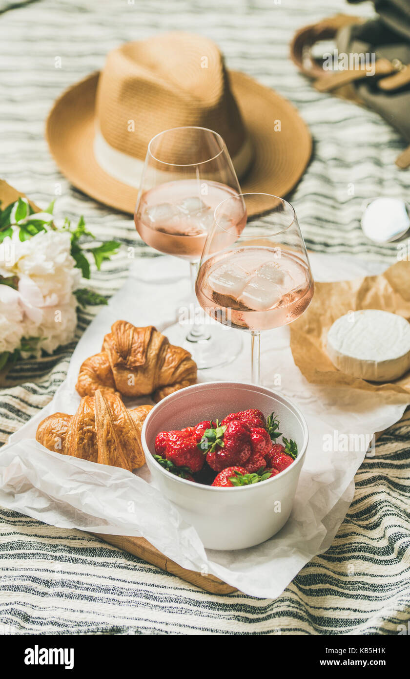 French style summer picnic setting, outdoor gathering concept, vertical composition - Stock Image