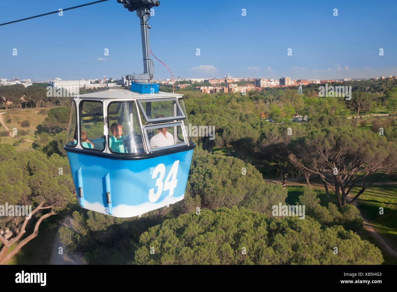Teleferico, cable car, Casa de Campo Park, Madrid, Spain, Europe - Stock Image