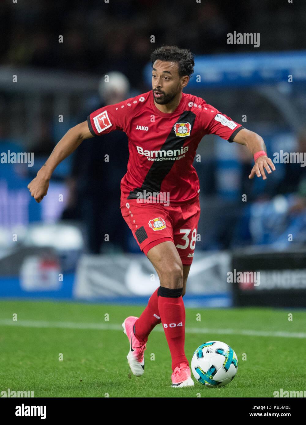 Berlin, Deutschland. 20th Sep, 2017. Karim BELLARABI (LEV) Fussball 1. Bundesliga, 5. Spieltag, Hertha BSC Berlin - Stock Image