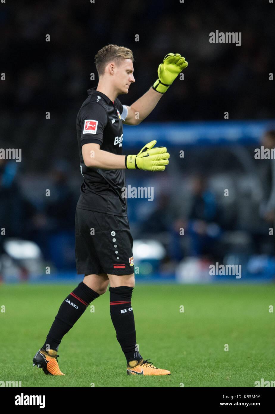 Berlin, Deutschland. 20th Sep, 2017. goalwart Bernd LENO (LEV) Fussball 1. Bundesliga, 5. Spieltag, Hertha BSC Berlin - Stock Image