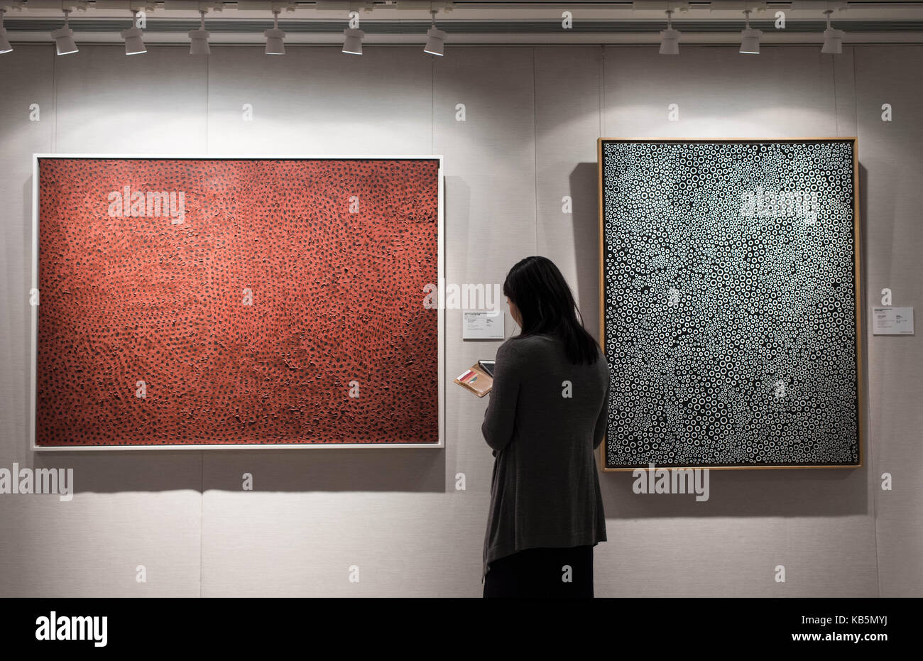 Hong Kong, China. 28th Sep, 2017. A visitor visits a preview exhibition of Christie's Hong Kong 2017 Autumn Auction Stock Photo