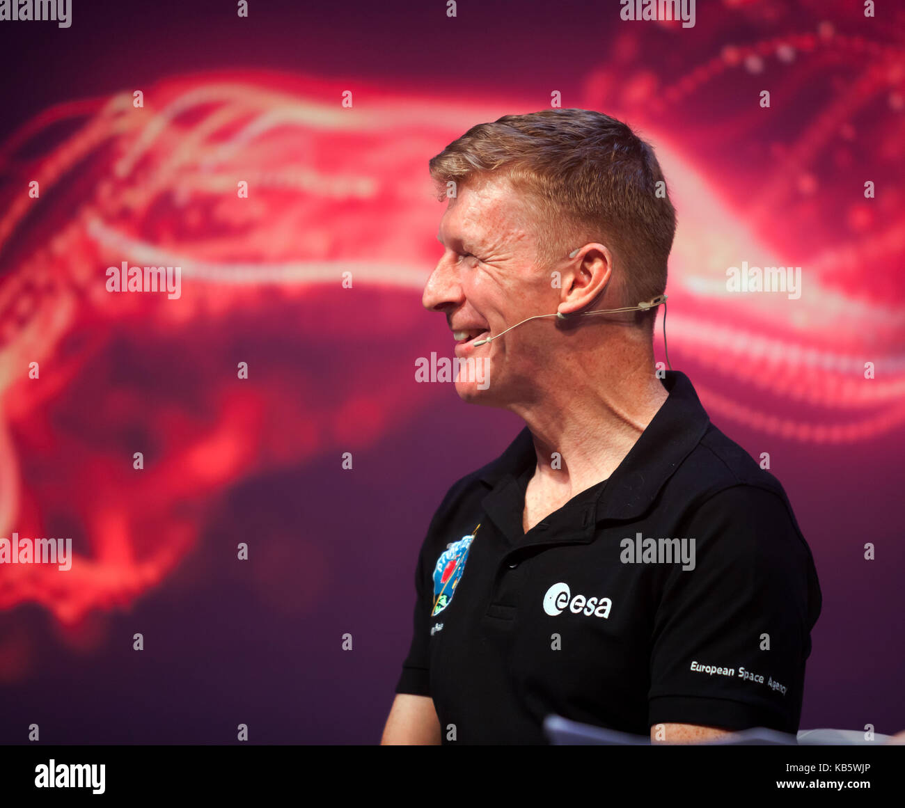 London, UK. 28th Sep, 2017. Tiim Peake,  European Space Agency astronaut. discussing his experiences on the ISS - Stock Image