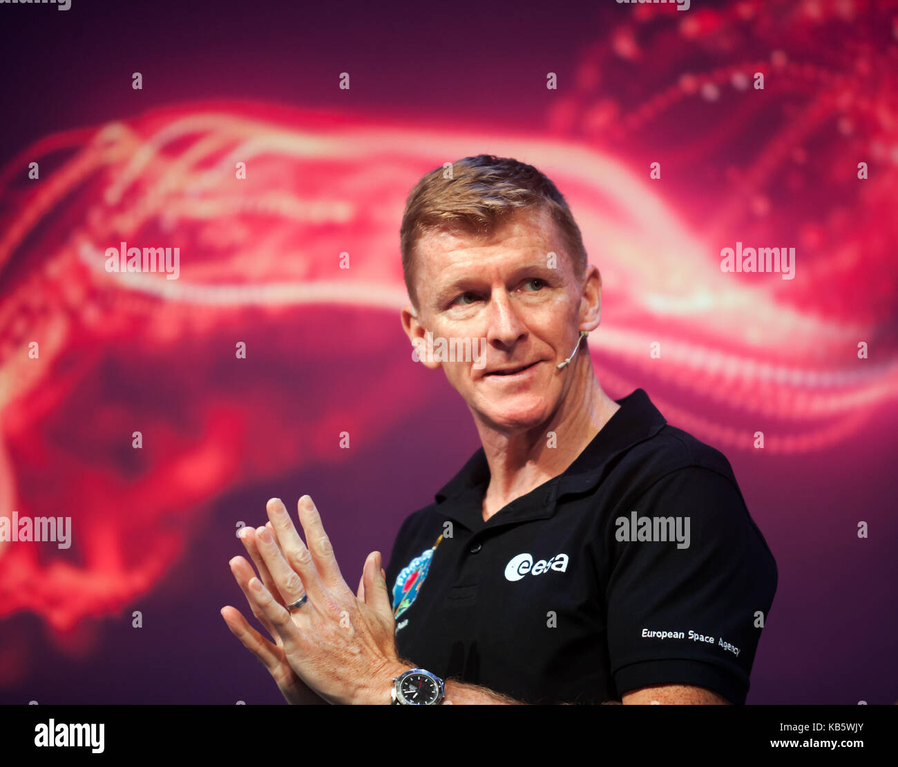 Tim Peake, European Space Agency Astronaut, discussing his experiences on the International Space Station at  New - Stock Image