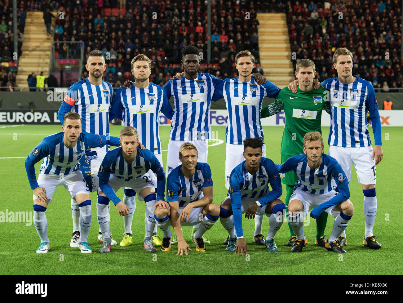 Ostersund, Sweden. 28th Sep, 2017. Hertha's players pose for a team picture before the Europa League match between - Stock Image