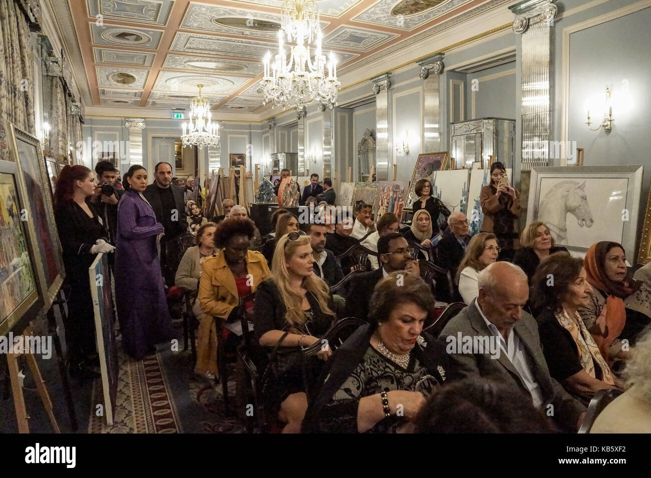 London, UK. 28th September, 2017. Konooz Fine Art Auction & Exhibition at the Lanesborough Hotel. The WGSF, - Stock Image