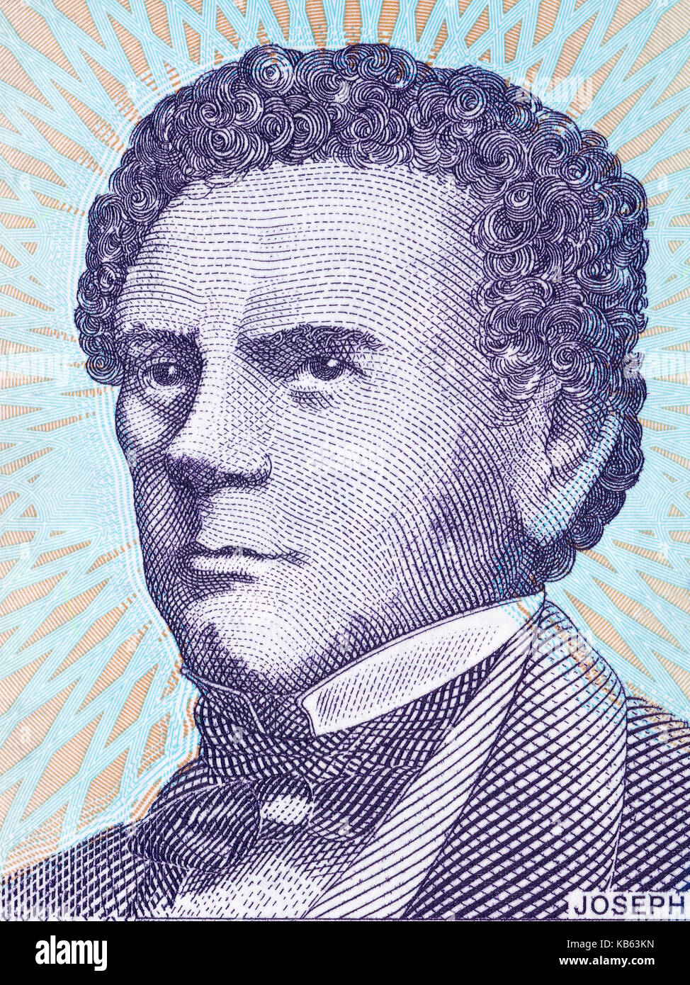 Joseph Jenkins Roberts portrait from Liberian dollars - Stock Image