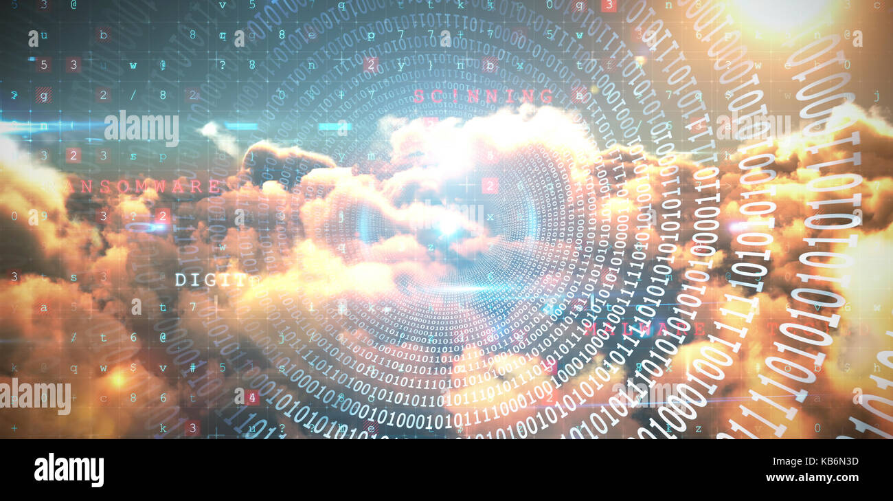 Spiral of shiny binary code against composite image of image of malware detected server and orange cloudy sky - Stock Image