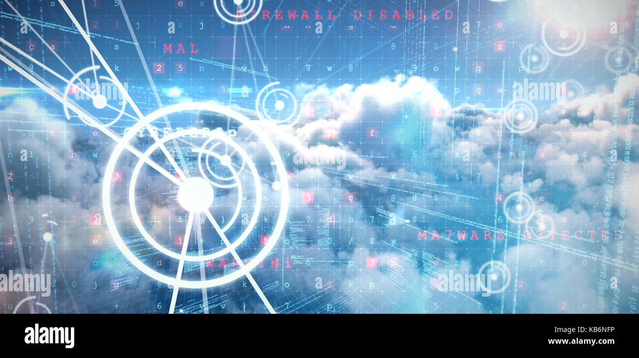 Binary codes and lines against image of malware detected server over cloudy sky - Stock Image