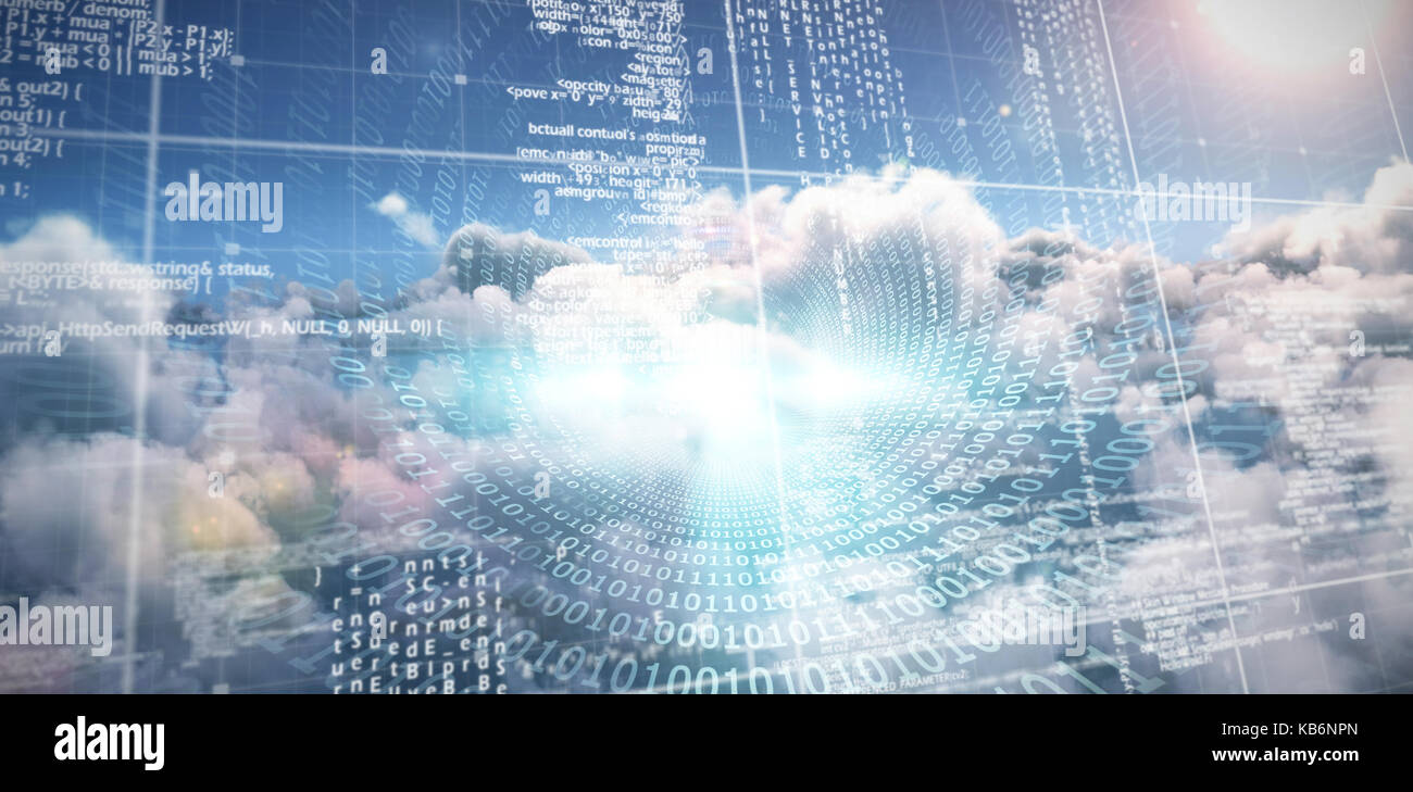 Spiral of shiny binary code against composite image of computer server and cloudy sky - Stock Image
