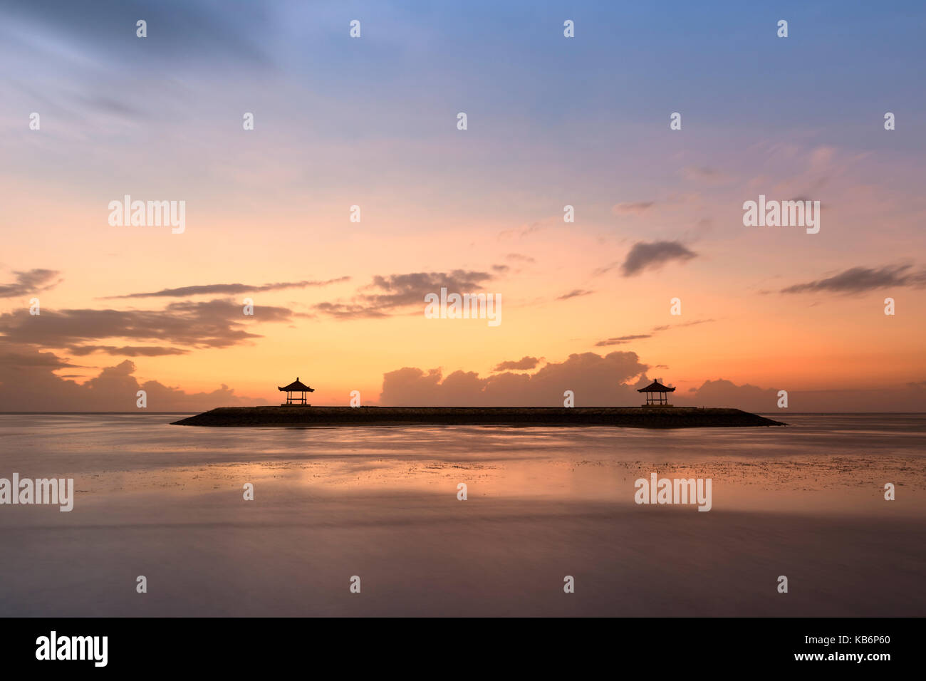 Sanur beach at sunrise, Bali, Indonesia - Stock Image