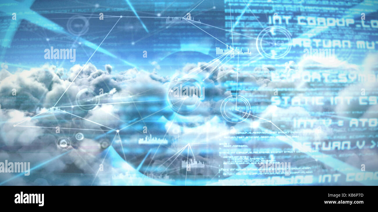Composite image of interface connecting lines over clouds  against abstract blue text Stock Photo