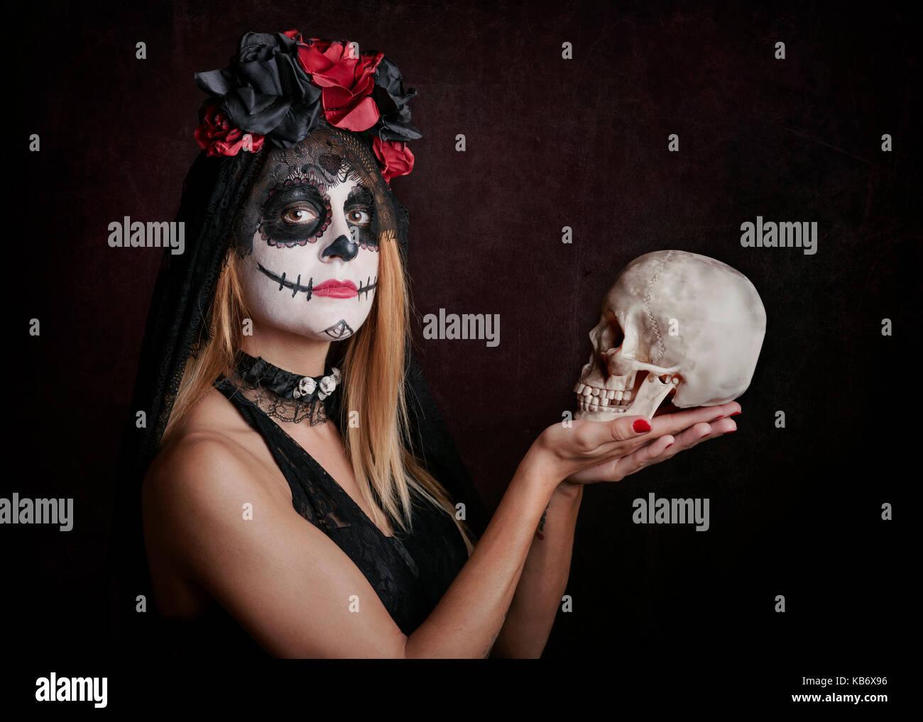 Woman on halloween - Stock Image