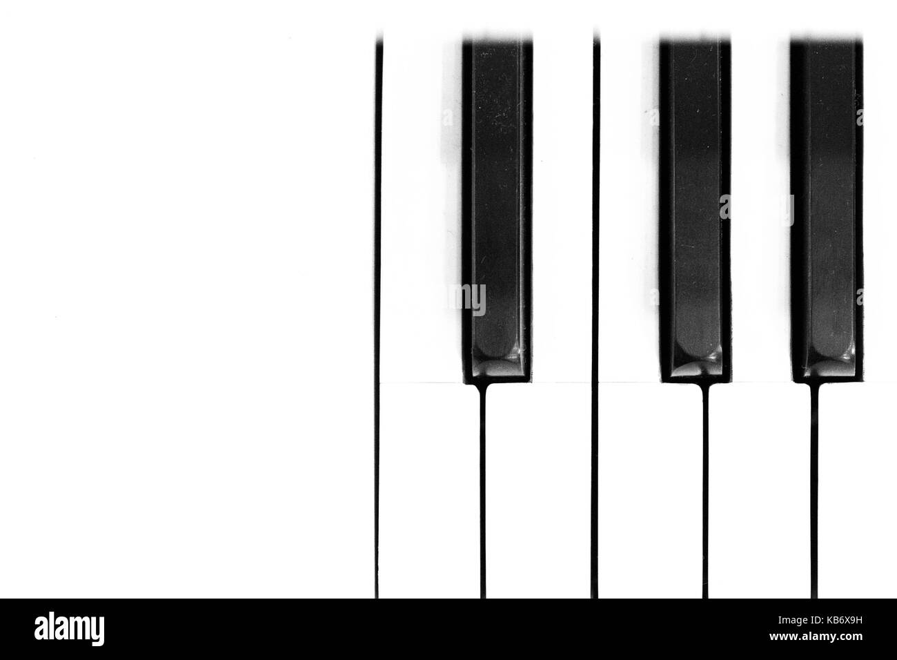 Piano keyboard Music background black and white close up mock up - Stock Image
