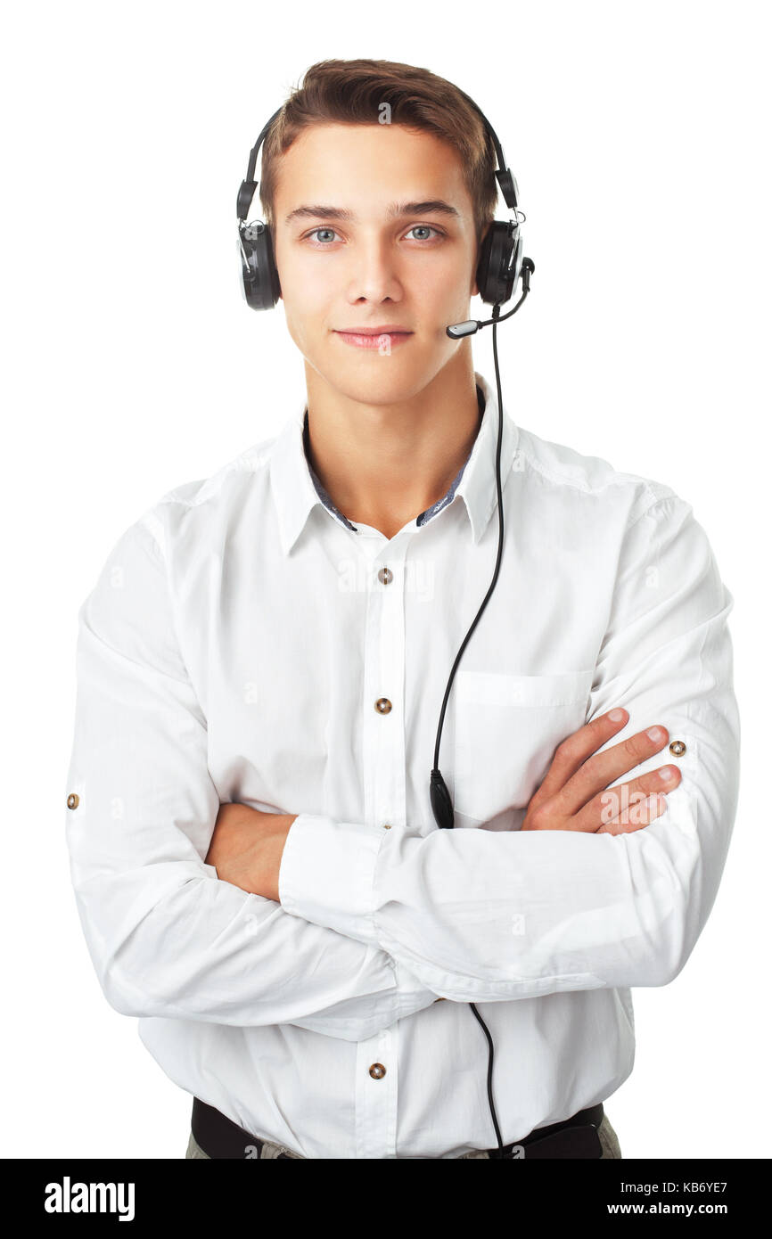 Closeup portrait of young man call center employee with a headset isolated on white background Stock Photo