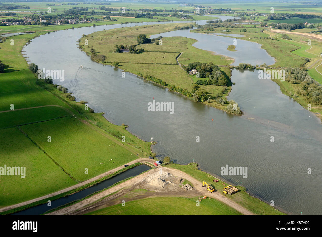 The Vreugderijkerwaard (Natuurmonumenten) is a nature reserve on the east side of the river IJssel. An old riverarm Stock Photo