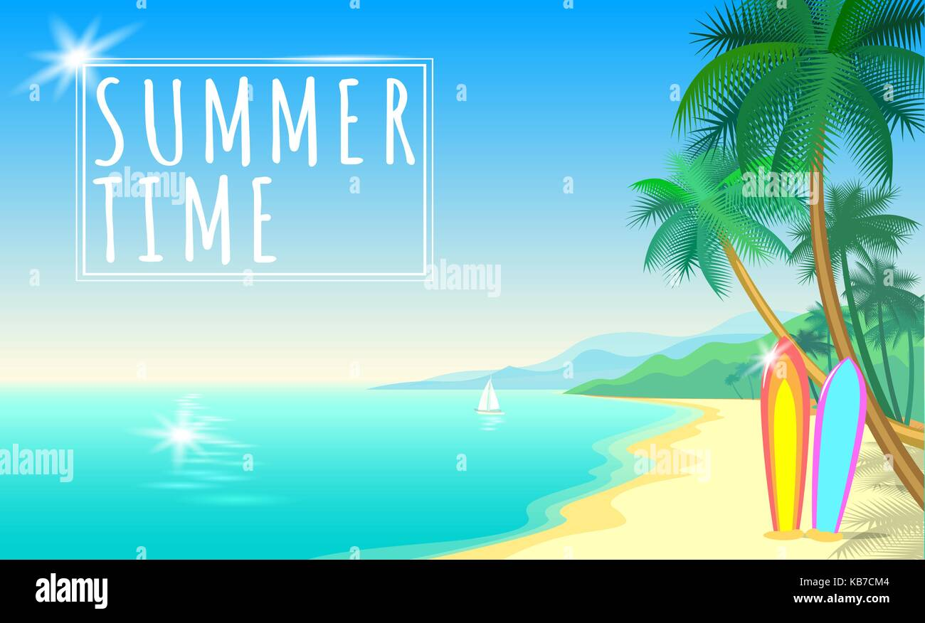 Summer sea palm beach web banner. Sand seashore blue water wave sunshite hot day surf boards boat. Background vector - Stock Vector