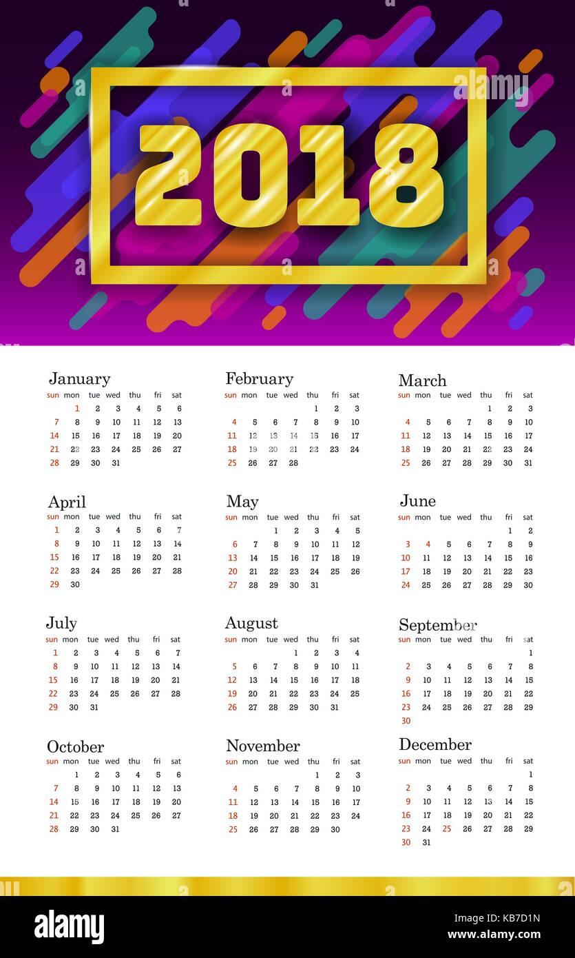 2018 Calendar Template Week Starts Sunday Set Of 12 Months Stock