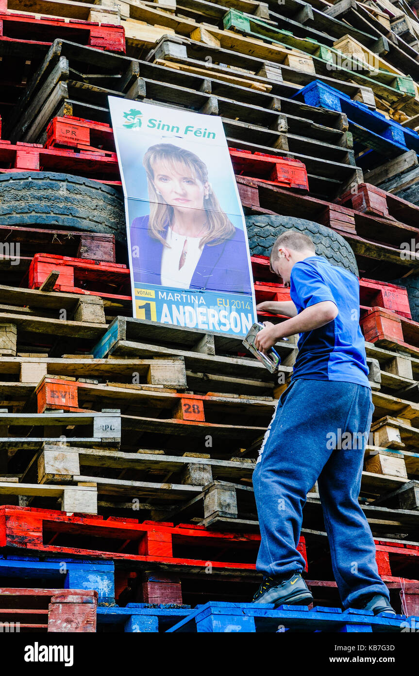 Newtownabbey, Northern Ireland. 11 July 2014 - A young man staples an election posters for MEP Martina Anderson - Stock Image