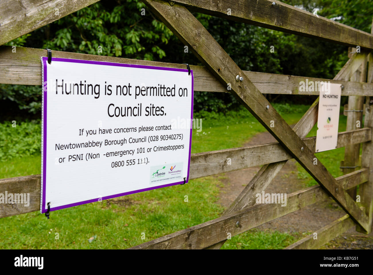 sign at a public park warning visitors against hunting on council