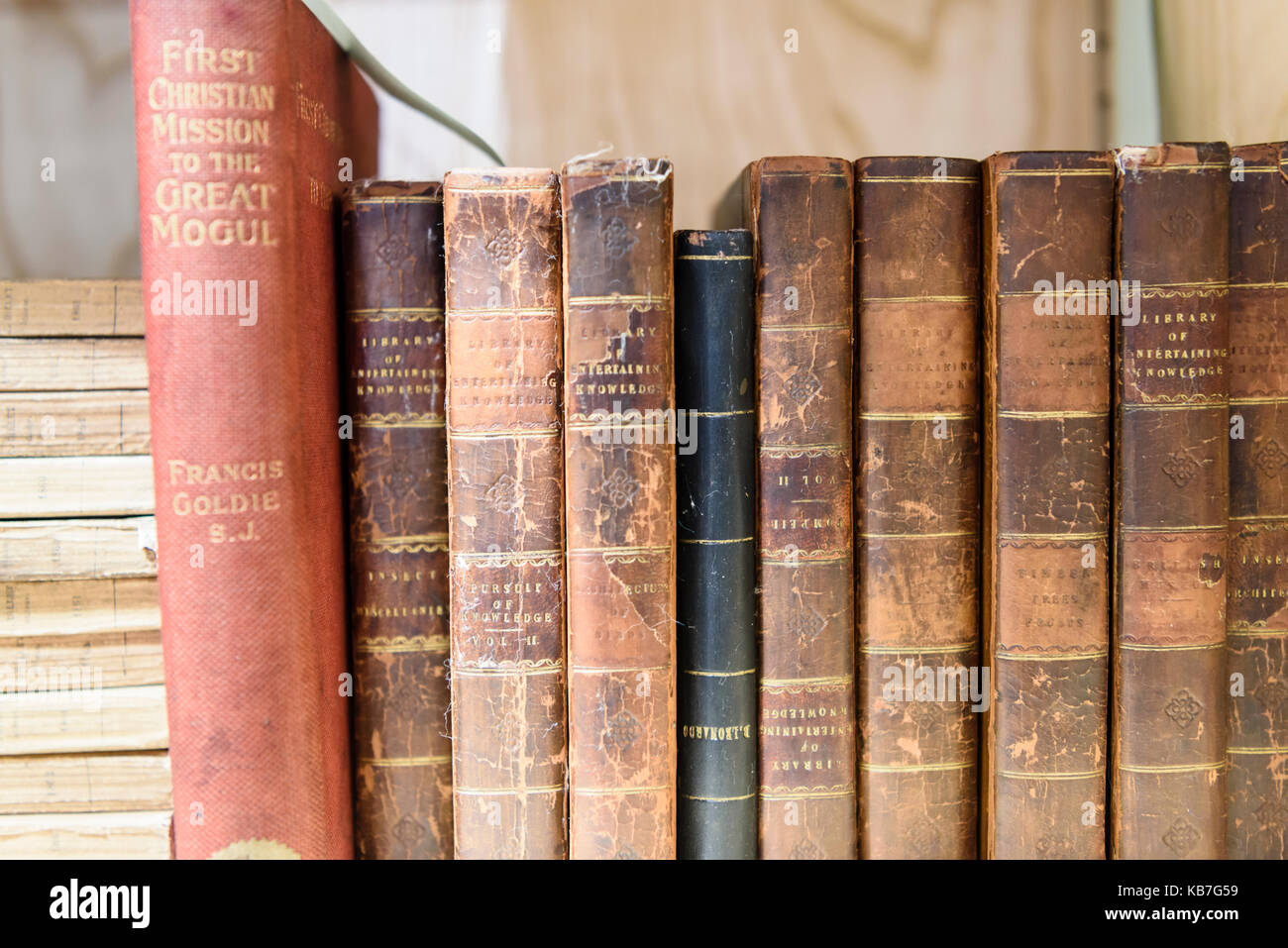 Old Irish theology books in a library specialising in Irish History. - Stock Image
