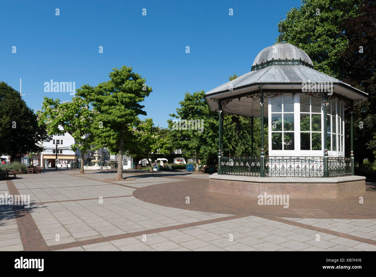 Late 19th Century, Victorian Bandstand in Dartmouth, South Devon. UK. Octagonal Structure supported on 8 cast-iron - Stock Image