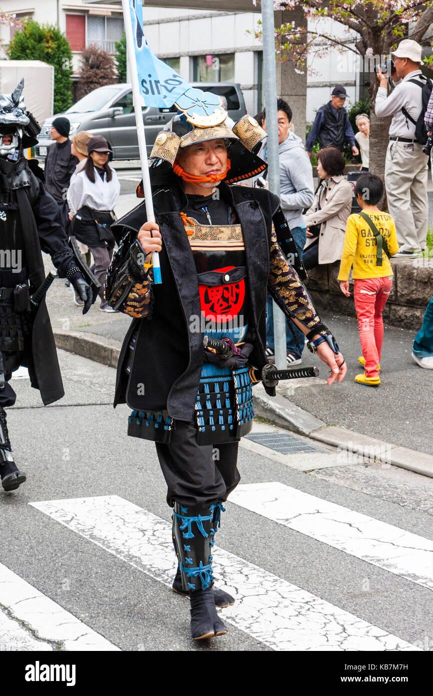 Yearly Genji Parade At Tada Japan Man In Black And Blue Samurai