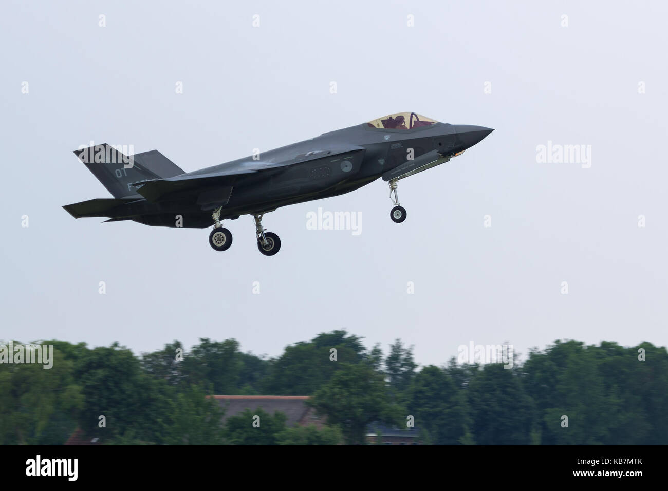 F-35 Lighting II of the RNLAF landing after an exercise during the very first deployment of F-35 aircraft in Europe. - Stock Image
