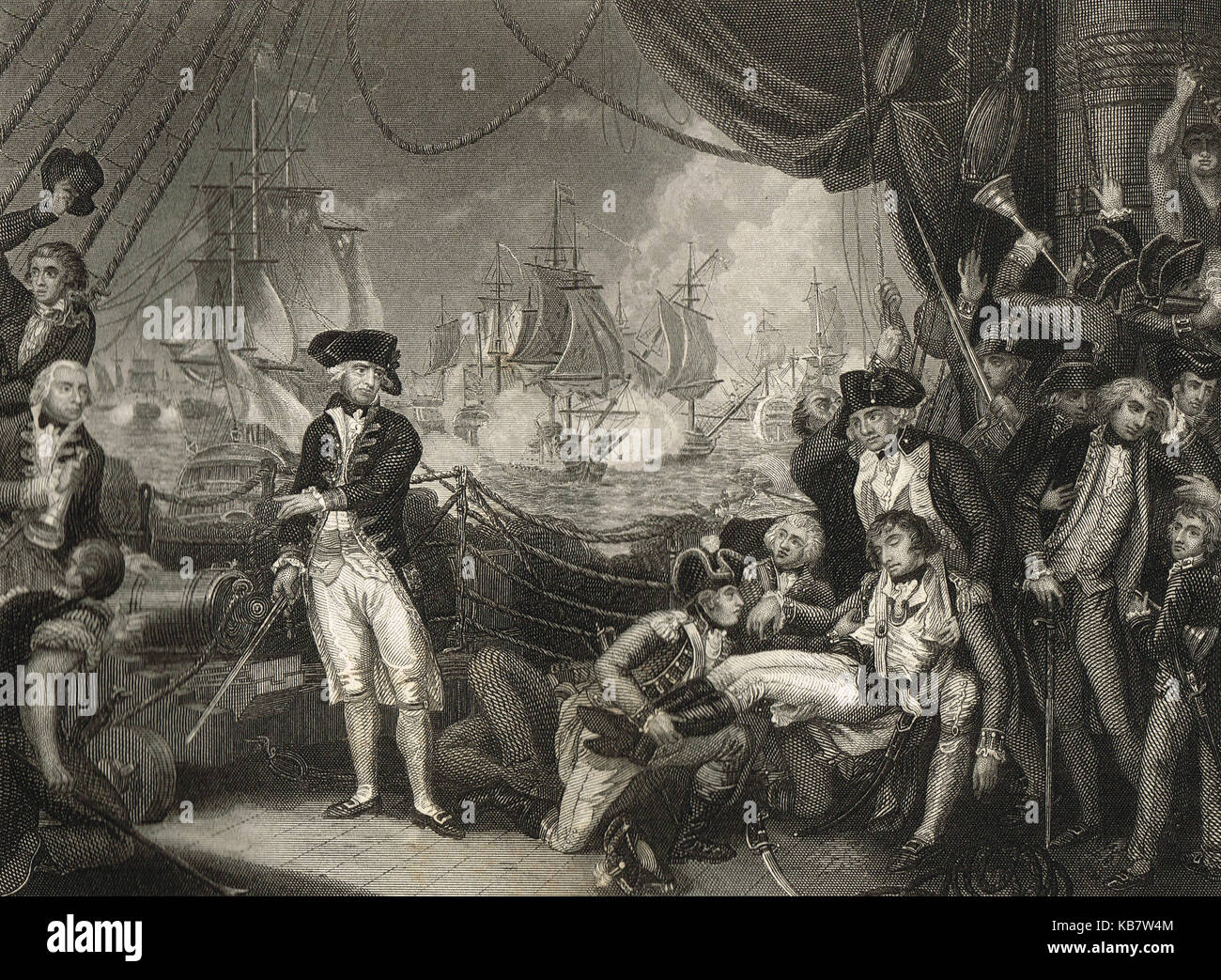 The death of Lieutenant Neville, Scene on the deck of the Queen Charlotte, 1 June 1794 (The Glorious First of June) - Stock Image