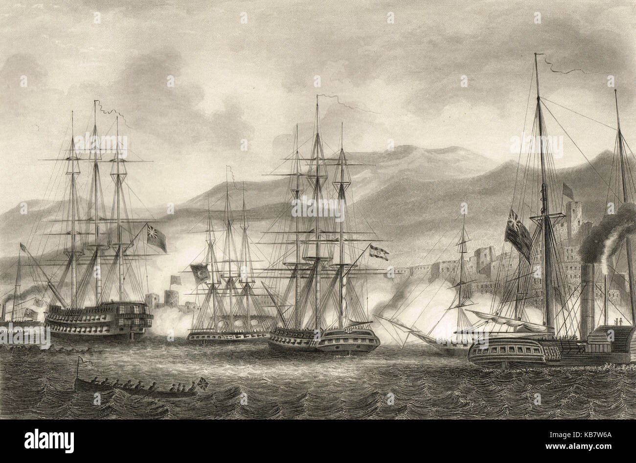 Attack on Sidon, led by commodore Charles Napier, 1840 - Stock Image