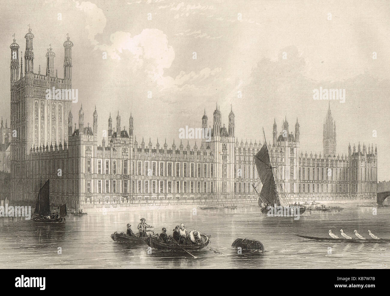 The new Houses of Parliament, a 19th Century view - Stock Image