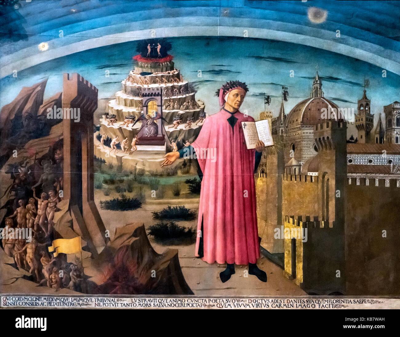 Fresco of Dante Explaining the Divine Comedy by Domenico do Michelino (1417-1491), Santa Maria del Fiore (Duomo), - Stock Image