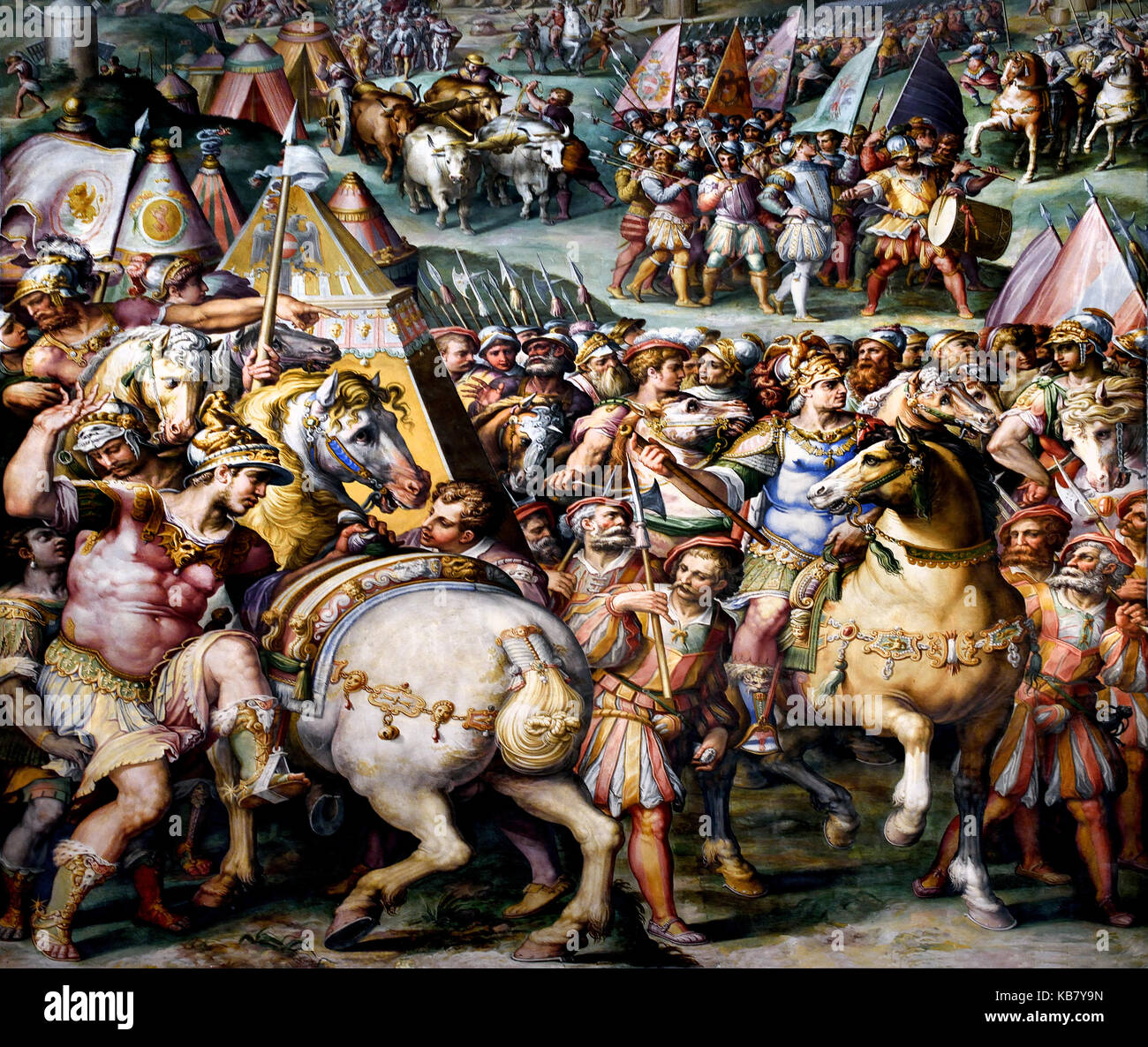 Emperor Massimiliano lifts the siege from Livorno Giorgio Vasari 1568/1571 In 1496 the Emperor Maximilian from Austria - Stock Image