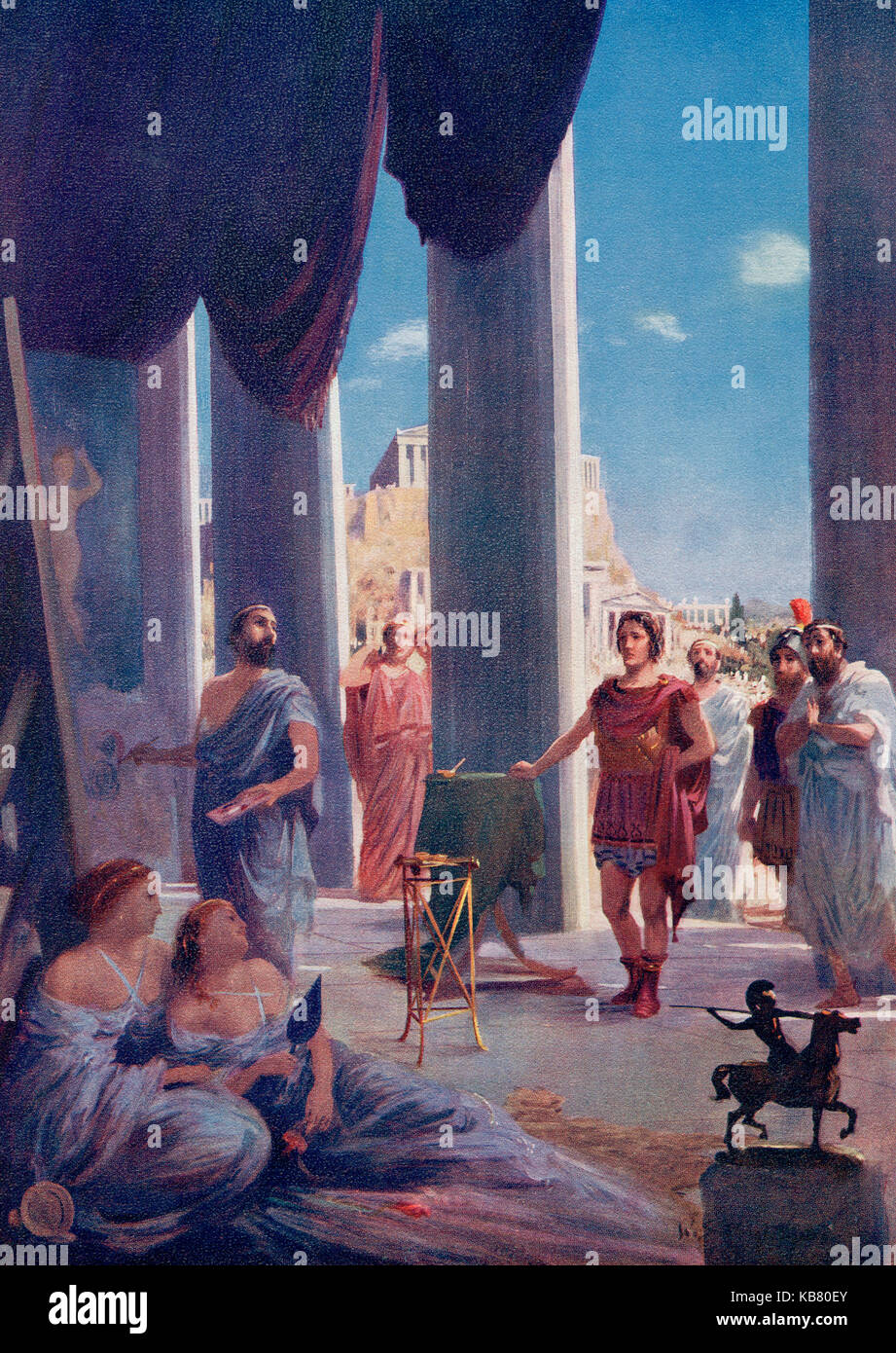 Alexander The Great in the studio of Apelles to arrange the painting of his portrait.  Apelles of Kos, c.332–329 - Stock Image
