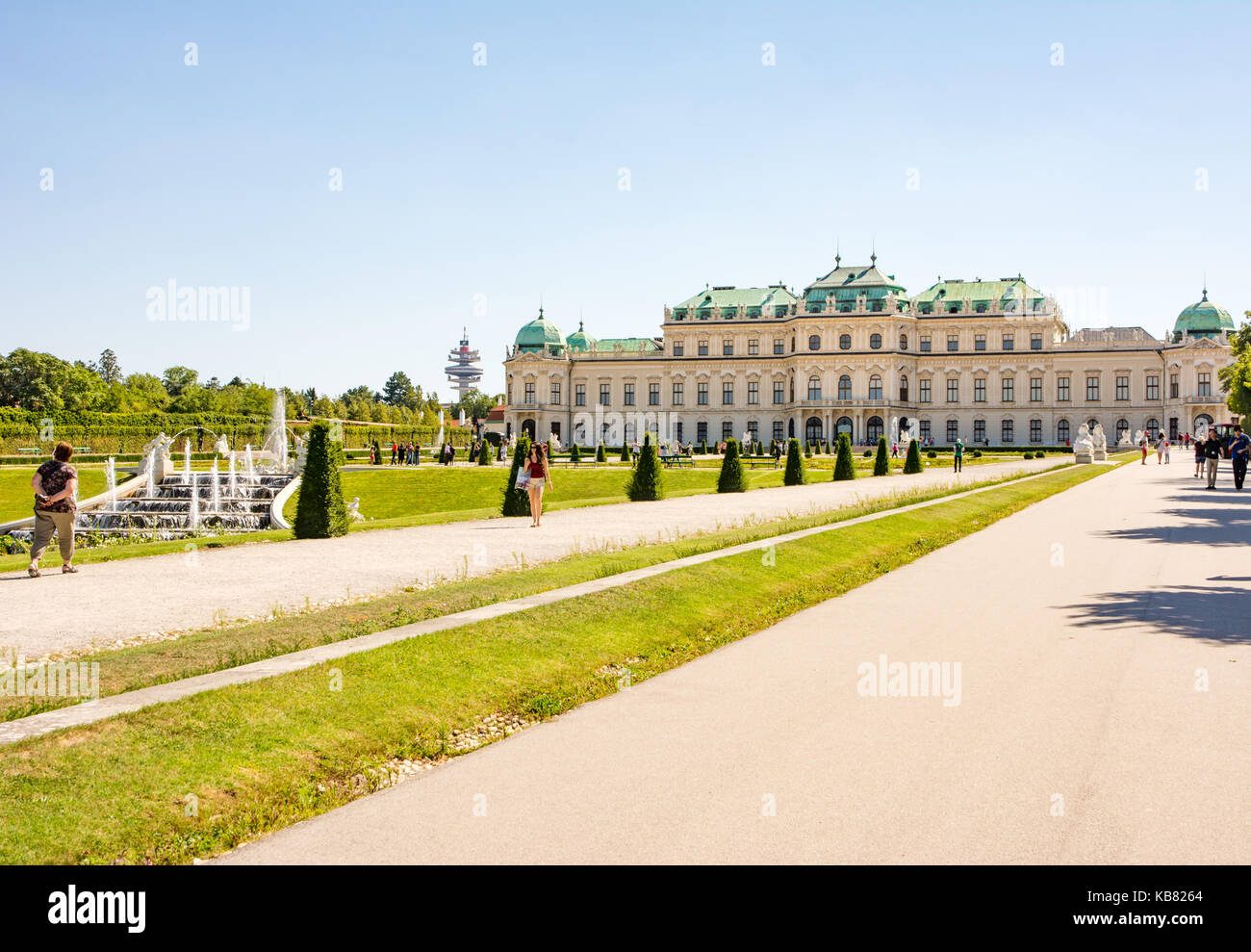 VIENNA, AUSTRIA - AUGUST 29: People in the garden of the Belvedere palace in Vienna, Austria on August 29, 2017. - Stock Image