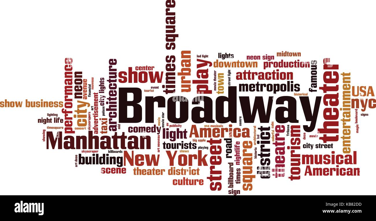 Broadway word cloud concept. Vector illustration - Stock Vector