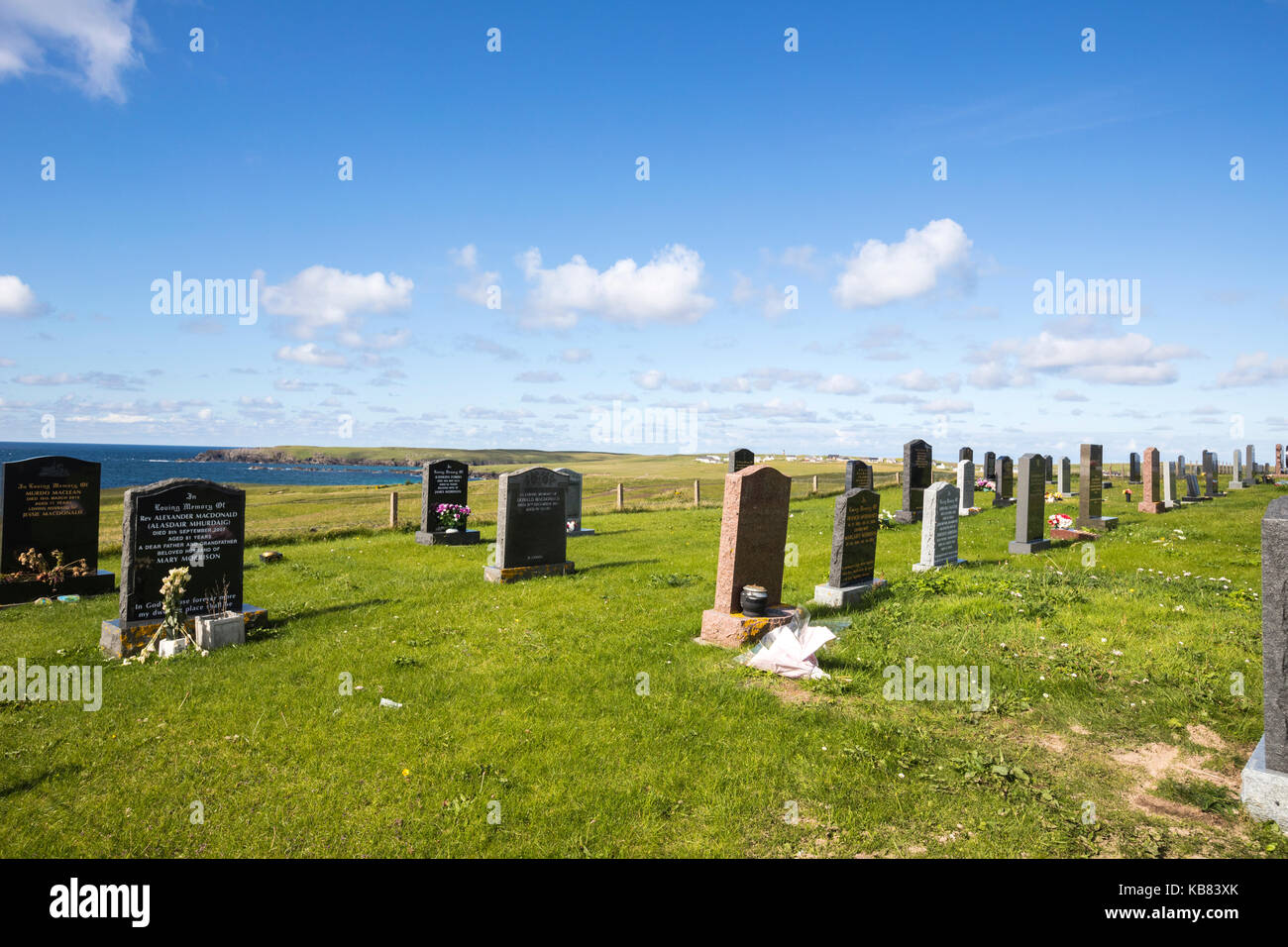 Cemetery near Eoropie Beach, Isle of Lewis in the parish of Ness, in the Outer Hebrides, Scotland - Stock Image