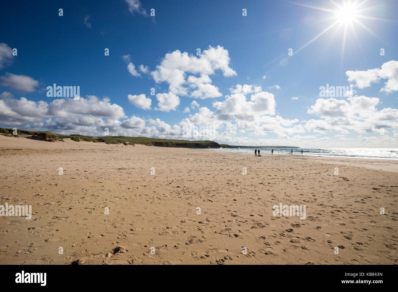 Family on Eoropie Beach, Isle of Lewis in the parish of Ness, in the Outer Hebrides, Scotland Stock Photo