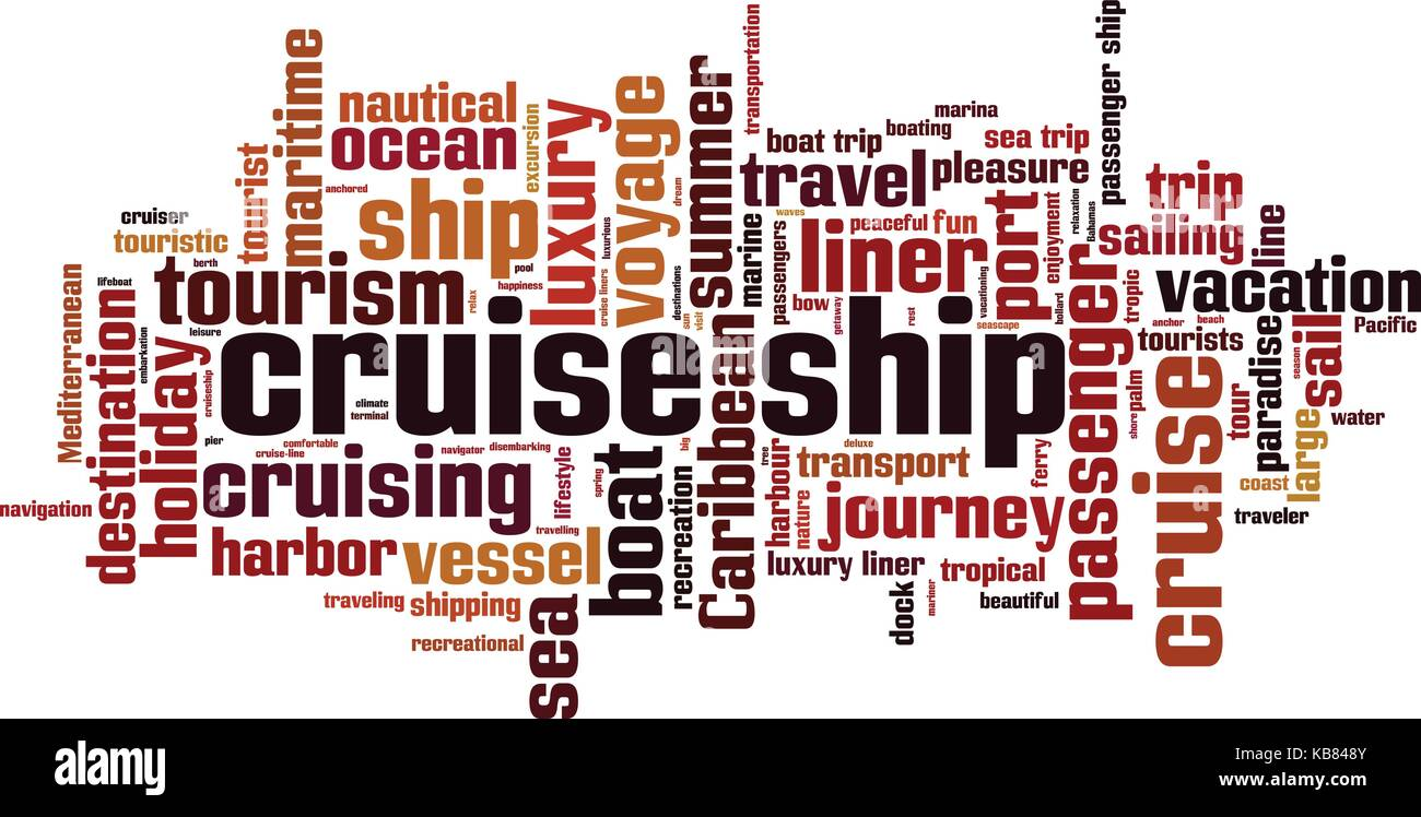 Cruise ship word cloud concept. Vector illustration - Stock Image