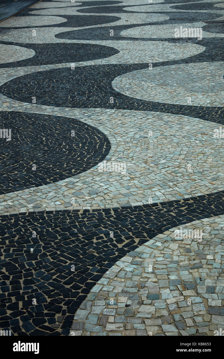 Wave pattern of Portuguese Pavement that runs for 4km along Copacabana Beach, Rio de Janeiro, Brazil, South America - Stock Image