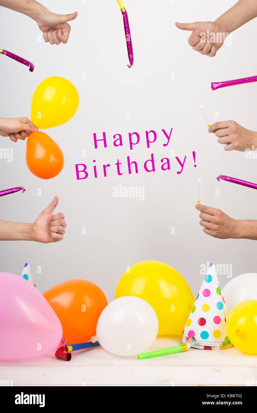 Birthday Occasion Anniversary Concept Arms With Thumbs Up Symbol