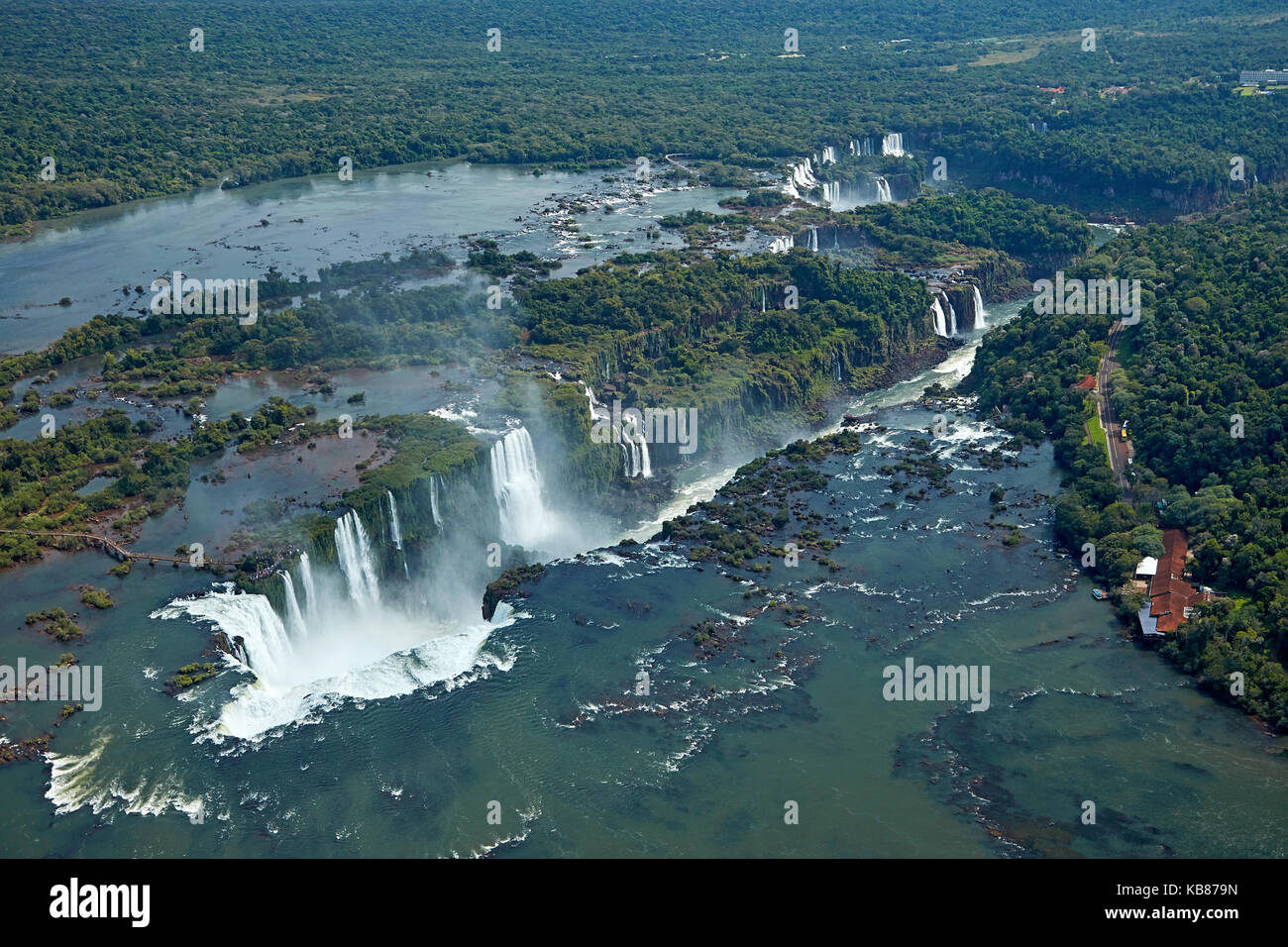 Devil's Throat (Garganta do Diabo), Iguazu Falls, on Brazil - Argentina Border, South America - aerial - Stock Image