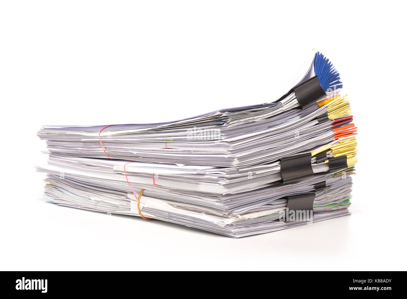 Stack of business papers isolated on white background - Stock Image