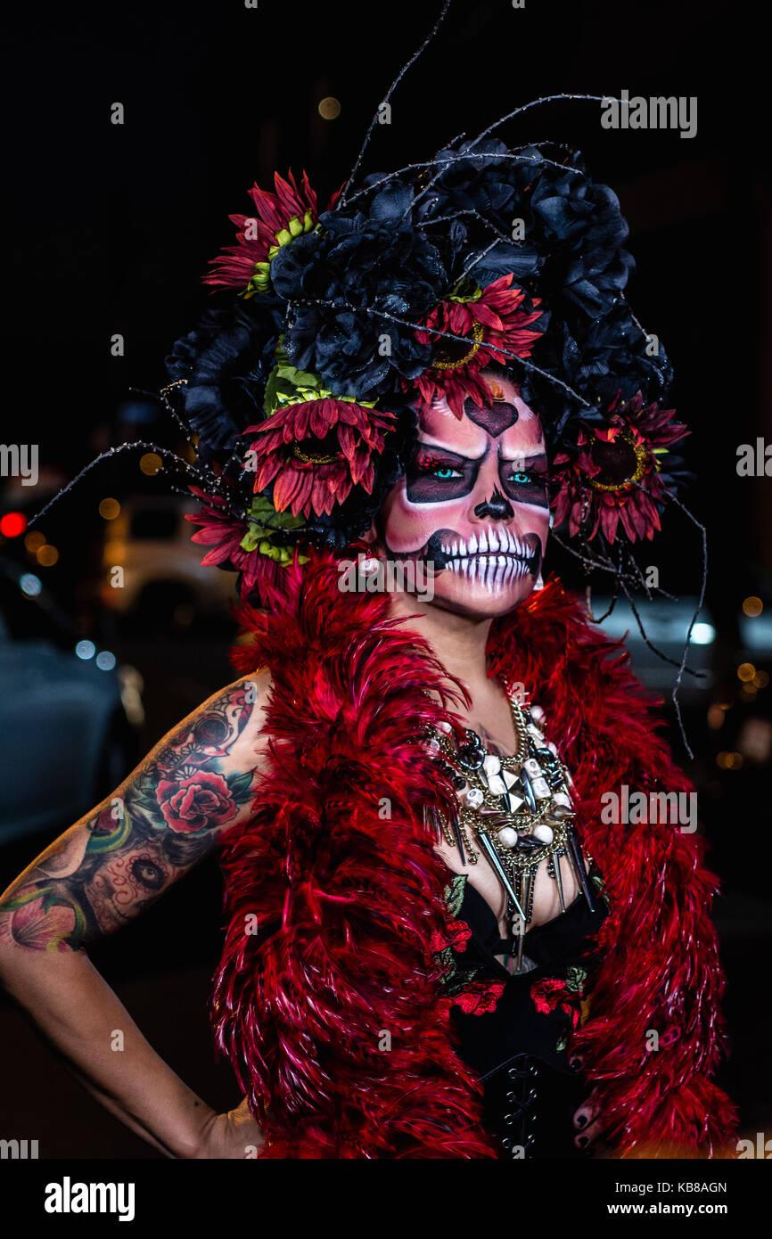 Street Meet LA hosted a photo meet with a Dia de Los Muertos theme near Downtown LA - Stock Image