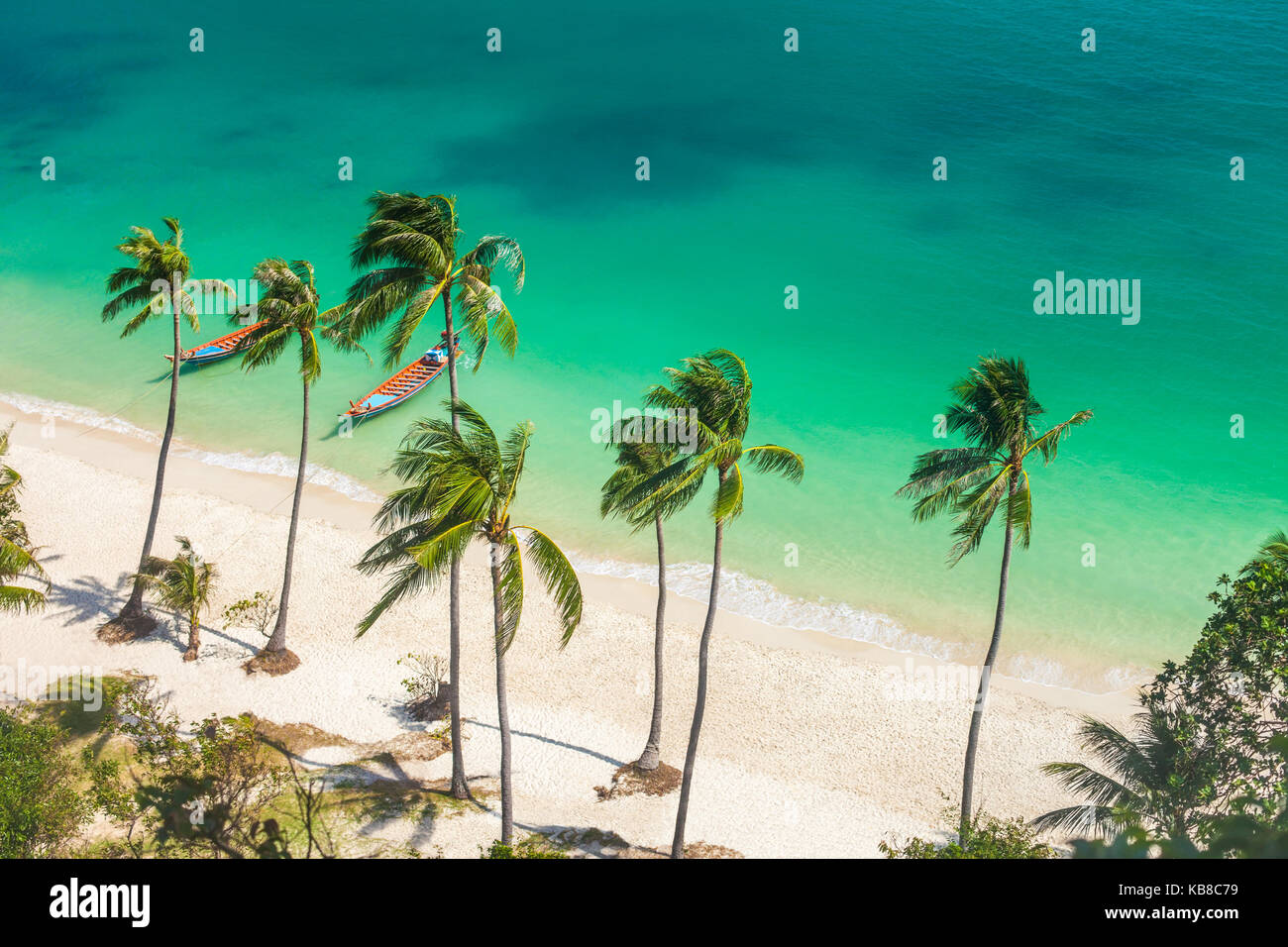 Paradise beach on tropical island. Ang Thong National Marine Park,Thailand. Top view - Stock Image
