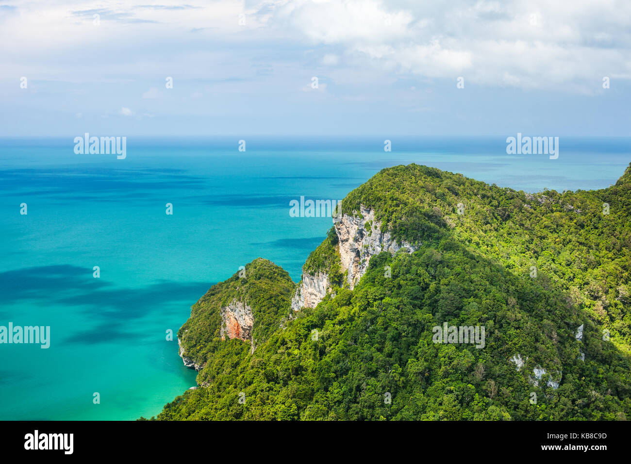 Beautiful tropical sea and mountain. Ang Thong National Marine Park,Thailand. Top view. Nature background. - Stock Image