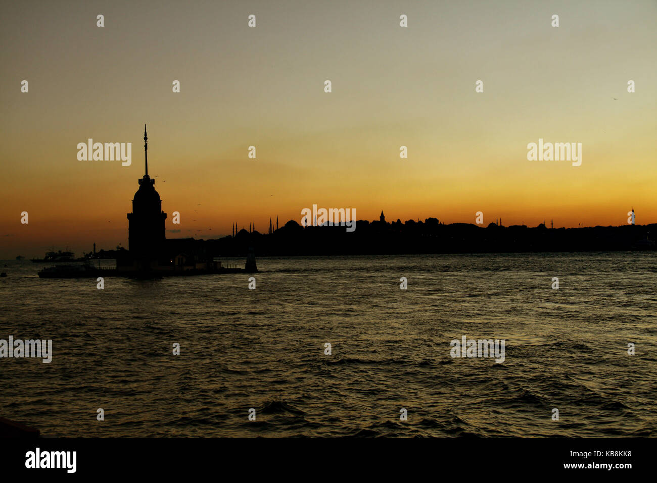 Silhouete of Maiden Tower, Istanbul, Turkey - Stock Image