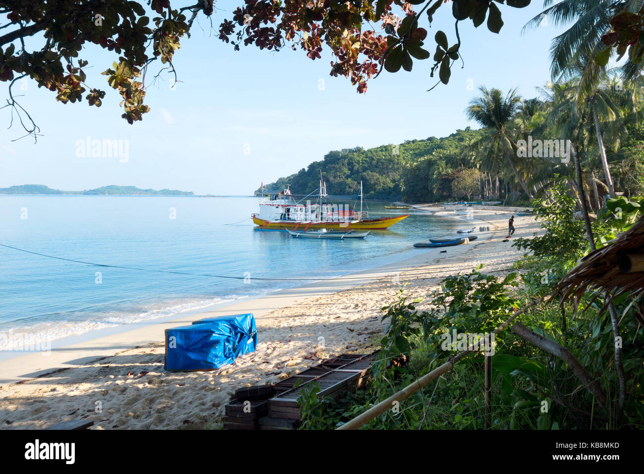 Philippines beach - beach camp on an island hopping holiday, El Nido, Palawan province, Philippines Asia - Stock Image