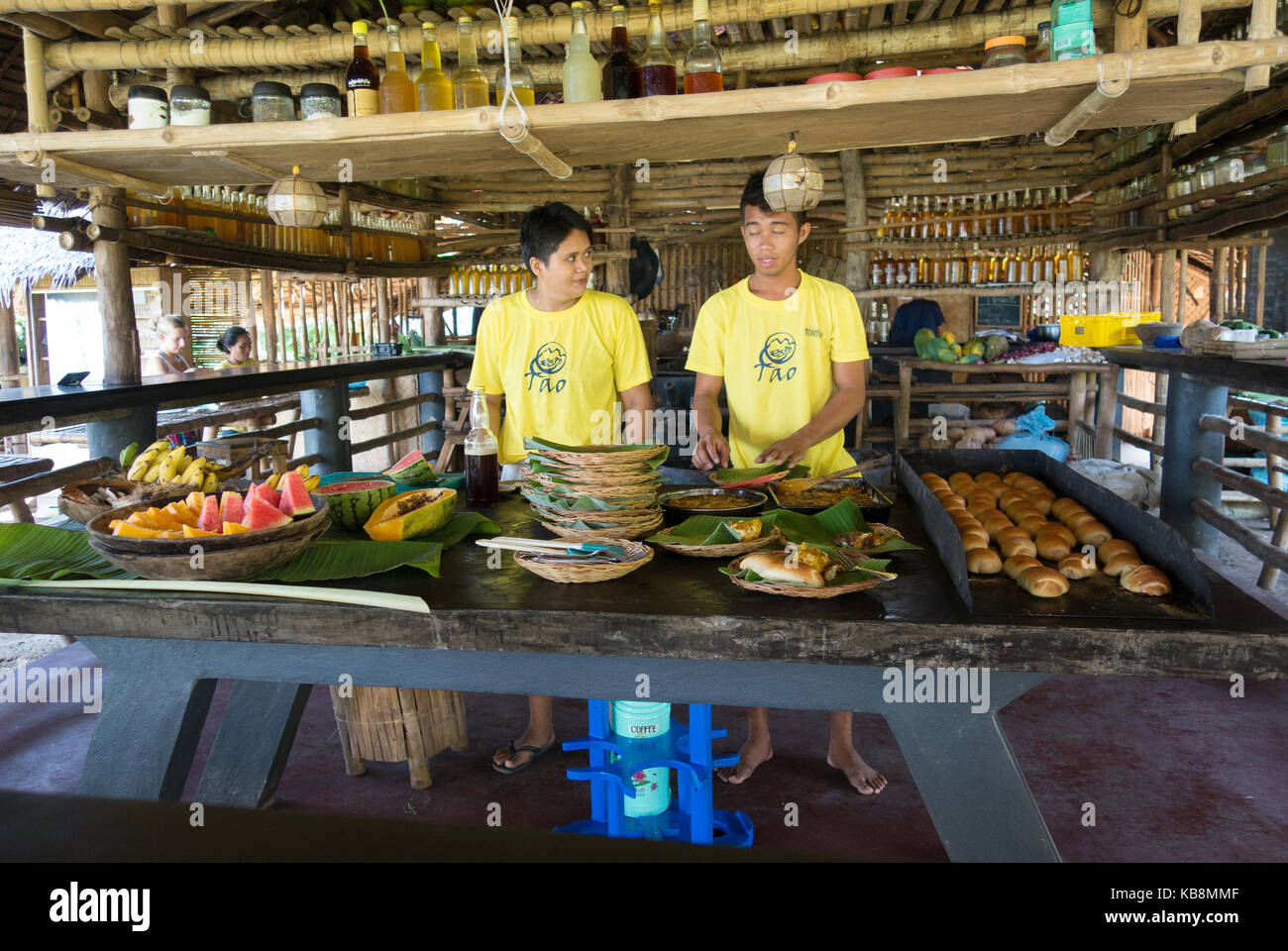 Philippines food preparation on an island hopping holiday, El Nido, Palawan, Philippines Asia - Stock Image