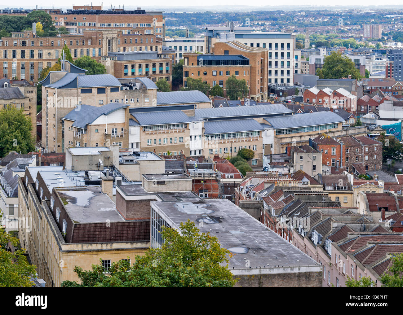 BRISTOL ENGLAND CITY CENTRE CABOT TOWER BRANDON HILL VIEW TO THE UNIVERSITY MEDICAL SCHOOL - Stock Image