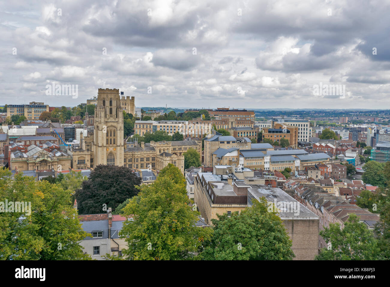 BRISTOL ENGLAND CITY CENTRE CABOT TOWER BRANDON HILL VIEW TO WILLS MEMORIAL BUILDING AND THE UNIVERSITY MEDICAL - Stock Image